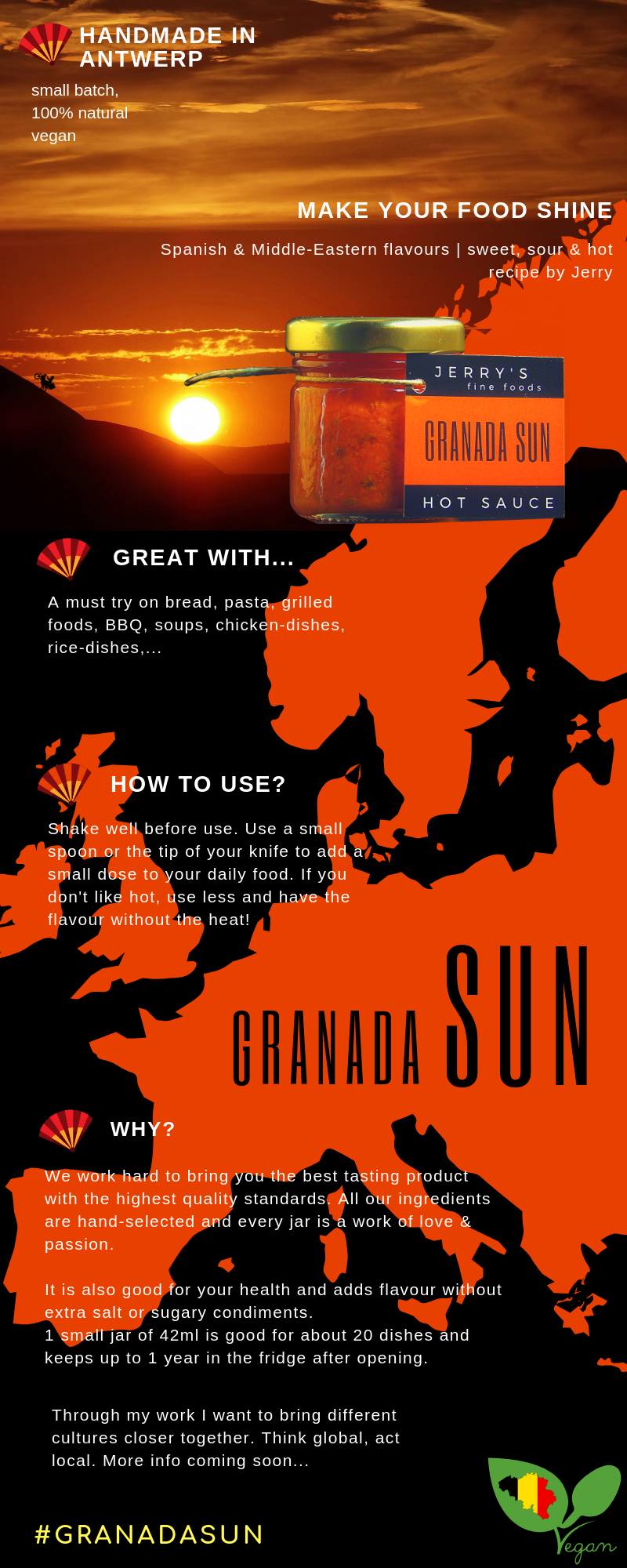 infographic about our granada sun hot sauce, spanish flavours with middle eastern flavours work very well toghether in this beautifully tasting hot sauce by jerrys fine foods